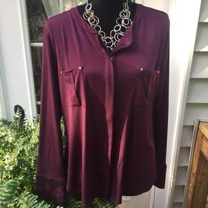 Dana Bachman burgundy button up long sleeve blouse
